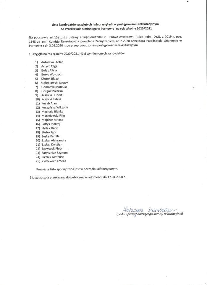 Lista dzieci przyjętych do Przedszkola Gminnego w Parnowie w podstawowym postępowaniu rekrutacyjnym na rok szkolny 2020/2021